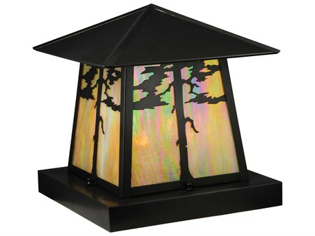 Meyda Tiffany Stillwater Tamarack Craftsman Brown Four-Light Outdoor Pier Mount Light