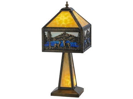 Meyda Tiffany Deer Lodge Lighted Base Yellow Table Lamp MY148132
