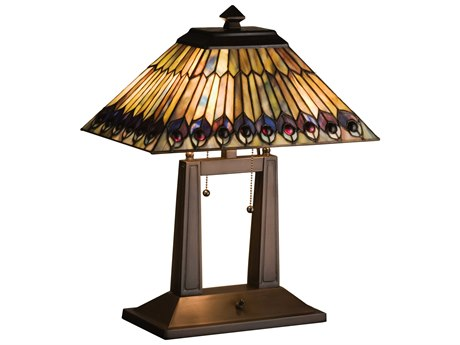 Meyda Tiffany Jeweled Peacock Oblong Multi-Color Desk Lamp MY26300