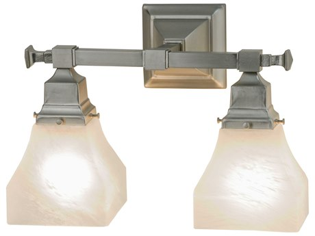Meyda Tiffany Bungalow White Alabaster Swirl Two-Light Vanity Light MY143343