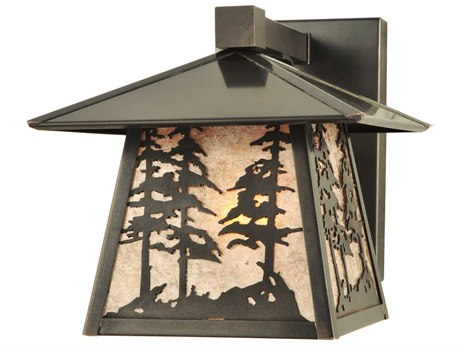 Meyda Tiffany Stillwater Tall Pine Trees Solid Mount Outdoor Wall Light
