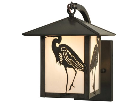 Meyda Tiffany Seneca Heron Curved Arm Outdoor Wall Light
