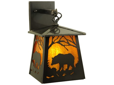 Meyda Tiffany Stillwater Grizzly Bear Outdoor Wall Light