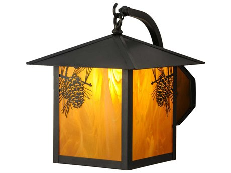 Meyda Tiffany Seneca Winter Pine Curved Arm Outdoor Wall Light