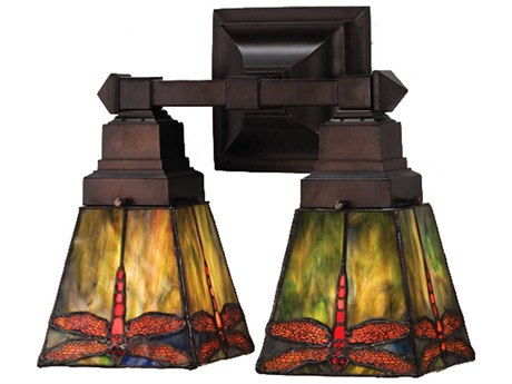 Meyda Tiffany Prairie Dragonfly Two-Light Wall Sconce MY48188