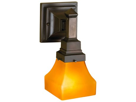 Meyda Tiffany Bungalow Frosted Amber Wall Sconce