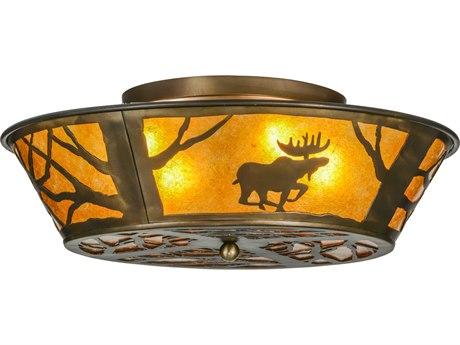 Meyda Tiffany Moose at Dawn Antique Copper 22'' Wide Flush Mount Light MY113169