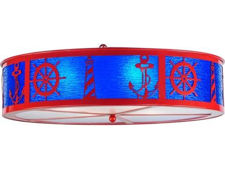 Meyda Tiffany Coastal Collection Four-Light Flush Mount Light