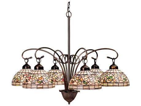 Meyda Tiffany Turning Leaf Six-Light 31 Wide Chandelier MY18715