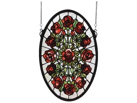 Meyda Tiffany Oval Rose Garden Stained Glass Window