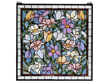 Meyda Tiffany Sugar Magnolia Stained Glass Window MY66278