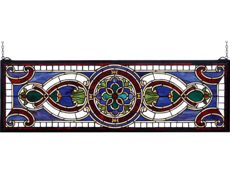 Meyda Tiffany Evelyn In Lapis Transom Stained Glass Window MY77907