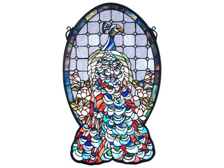 Meyda Tiffany Peacock Profile Stained Glass Window