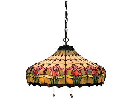 Meyda Tiffany Colonial Tulip Three-Light Pendant Light MY11079