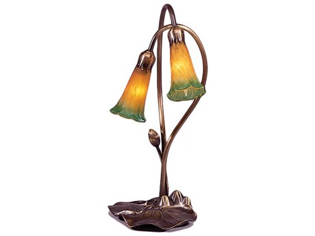 Meyda Tiffany Pond Lily Amber & Green Accent Table Lamp MY12939