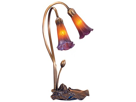 Meyda Tiffany Pond Lily Amber & Purple Accent Table Lamp MY13008