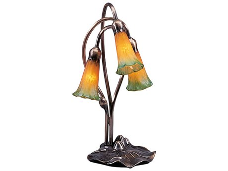 Meyda Tiffany Pond Lily Amber & Green Accent Table Lamp MY13595