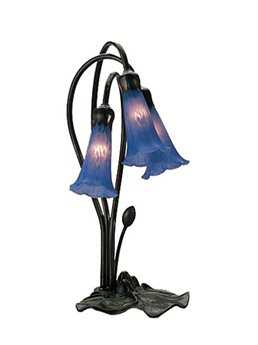 Meyda Tiffany Pond Lily Blue Accent Table Lamp MY13746