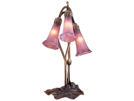 Meyda Tiffany Cranberry Pond Lily Bronze Accent Table Lamp MY13863