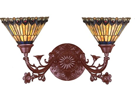Meyda Tiffany Jeweled Peacock Two-Light Wall Sconce MY31971