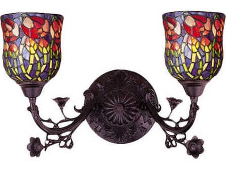 Meyda Tiffany Red Rosebud Two-Light Wall Sconce MY36911