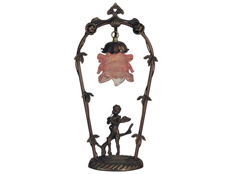 Meyda Tiffany Cherub with Violin Pink Accent Table Lamp MY11518