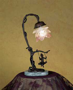 Meyda Tiffany Cherub On Swing Pink Accent Table Lamp MY17855