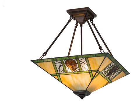 Meyda Lighting Pinecone Ridge Beige Amber Zasdy Semi-Flush Mount Light MY173628