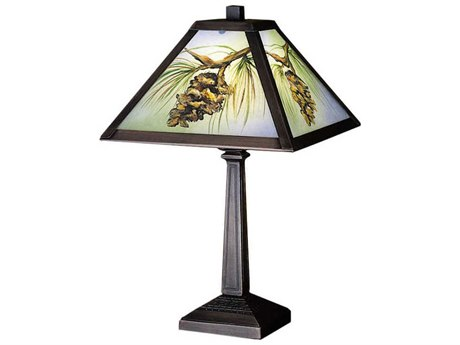 Meyda Tiffany Northwood's Pinecone Hand Painted Multi-Color Accent Table Lamp MY27498