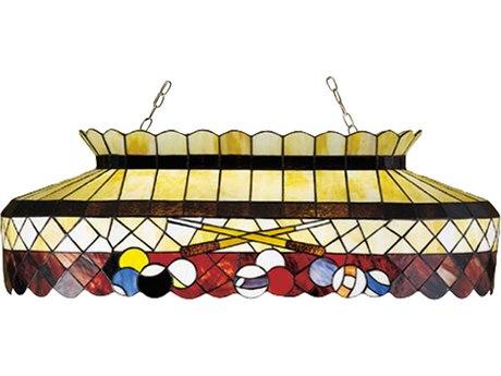 Meyda Tiffany Burgundy Billiard Oblong Six-Light Pendant MY27615