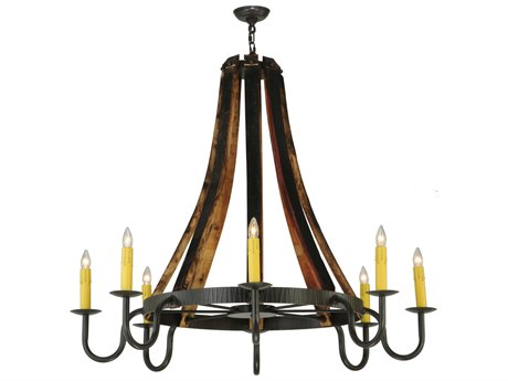 Meyda Tiffany Barrel Stave Madera Eight-Light 48 Wide Chandelier
