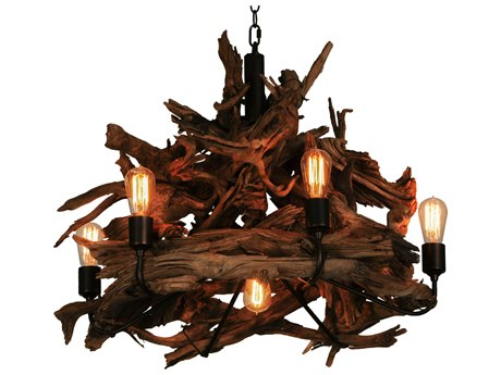 Meyda Tiffany Driftwood Seven-Light 30 Wide Chandelier MY144371