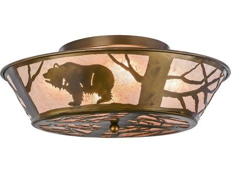 Meyda Tiffany Grizzly Bear On The Loose Four-Light Flush Mount Light MY10011
