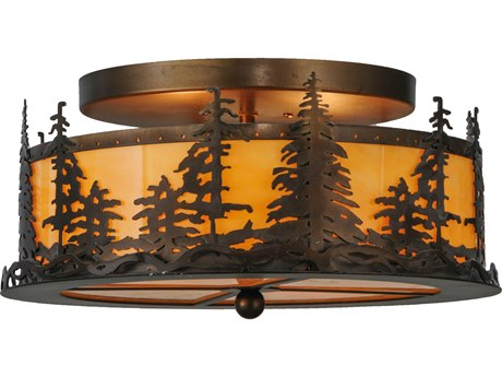 Meyda Tiffany Tall Pines Two-Light Flush Mount Light MY144243