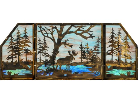 Meyda Tiffany Moose At Lake 3 Panel Stained Glass Window