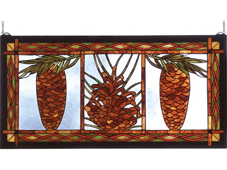 Meyda Tiffany Northwood's Pinecone Stained Glass Window