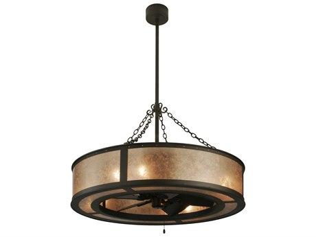 Meyda Tiffany Smythe Craftsman Silver Mica Eight-Light Chandel-Air