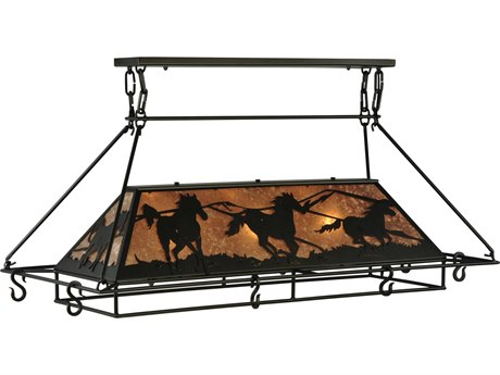 Meyda Tiffany Wild Horses Oblong Three-Light Pot Rack MY133883
