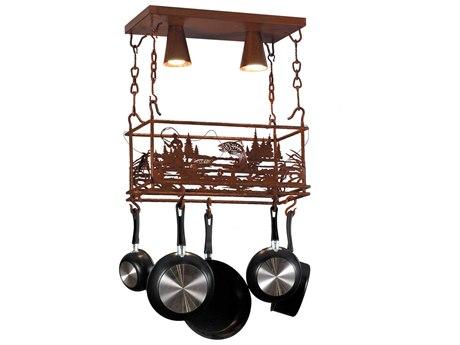 Meyda Tiffany Fisherman Two-Light Pot Rack MY143744