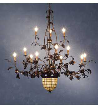 Meyda Tiffany Greenbriar Oak 12 Arm 2 Tier 14-Light 63 Wide Grand Chandelier MY10009