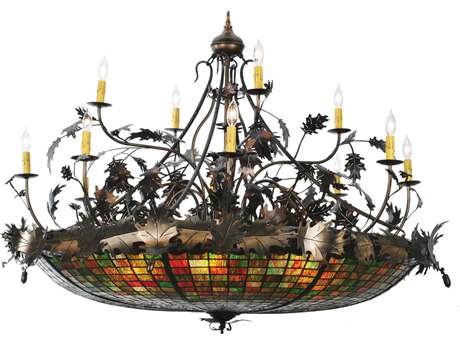 Meyda Tiffany Greenbriar Oak 12 Arm 15-Light 50 Wide Grand Chandelier MY100424