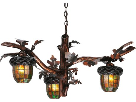 Meyda Tiffany Acorn Branch Three-Light 40 Wide Grand Chandelier MY113923