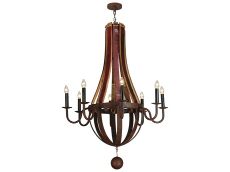 Meyda Tiffany Barrel Stave Metallo Eight-Light 43 Wide Grand Chandelier MY127589