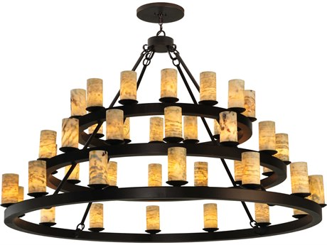 Meyda Tiffany Horizon Ring Jadestone 3 Tier 42-Light 70'' Wide Chandelier MY130509