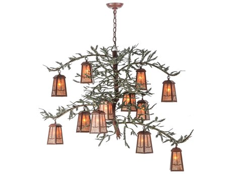 Meyda Tiffany Pine Branch Valley View 12-Light 52 Wide LED Grand Chandelier MY140897