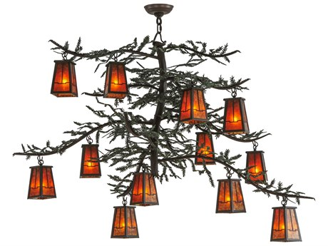 Meyda Tiffany Pine Branch Valley View 12-Light 53 Wide Grand Chandelier MY143845