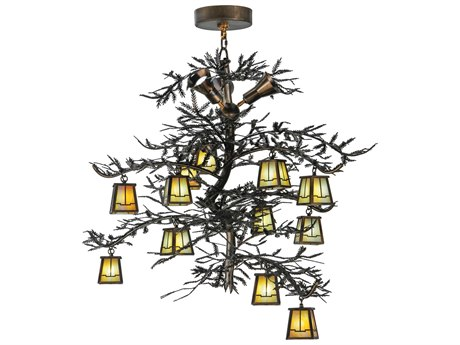 Meyda Tiffany Pine Branch Valley View 12-Light 52 Wide LED Grand Chandelier MY145107