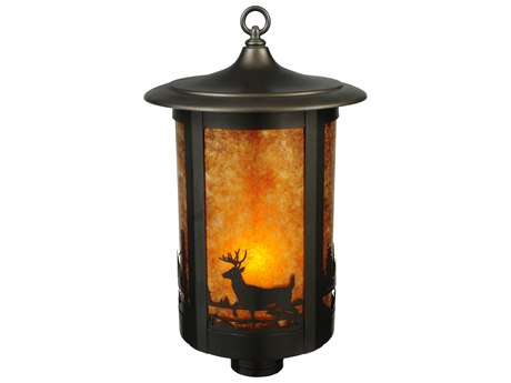 Meyda Tiffany Fulton Deer Creek Amb Mica Craftsman Outdoor Post Mount Light MY137621