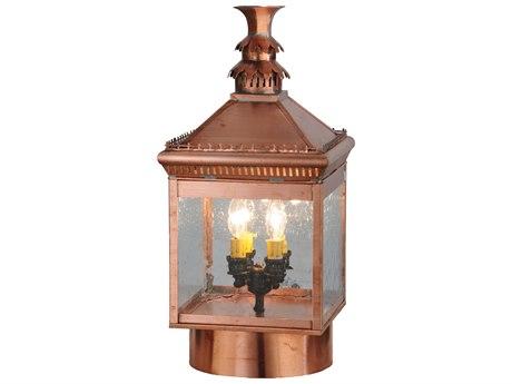 Meyda Tiffany Locke Solid Copper Four-Light Outdoor Post Mount Light