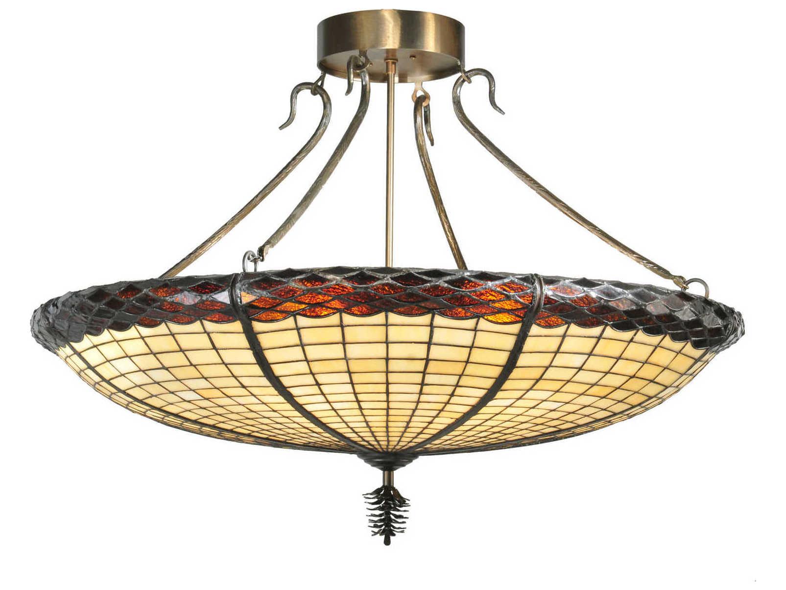 Meyda Tiffany Greenbriar Oak Six Light Semi Flush Mount